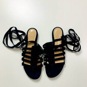NWOB Gianvito Rossi Navy Blue Suede Lace Gladiator